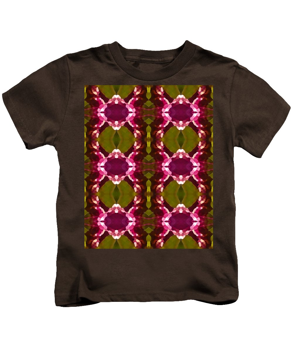 Abstract Kids T-Shirt featuring the painting Magenta Crystal Pattern by Amy Vangsgard