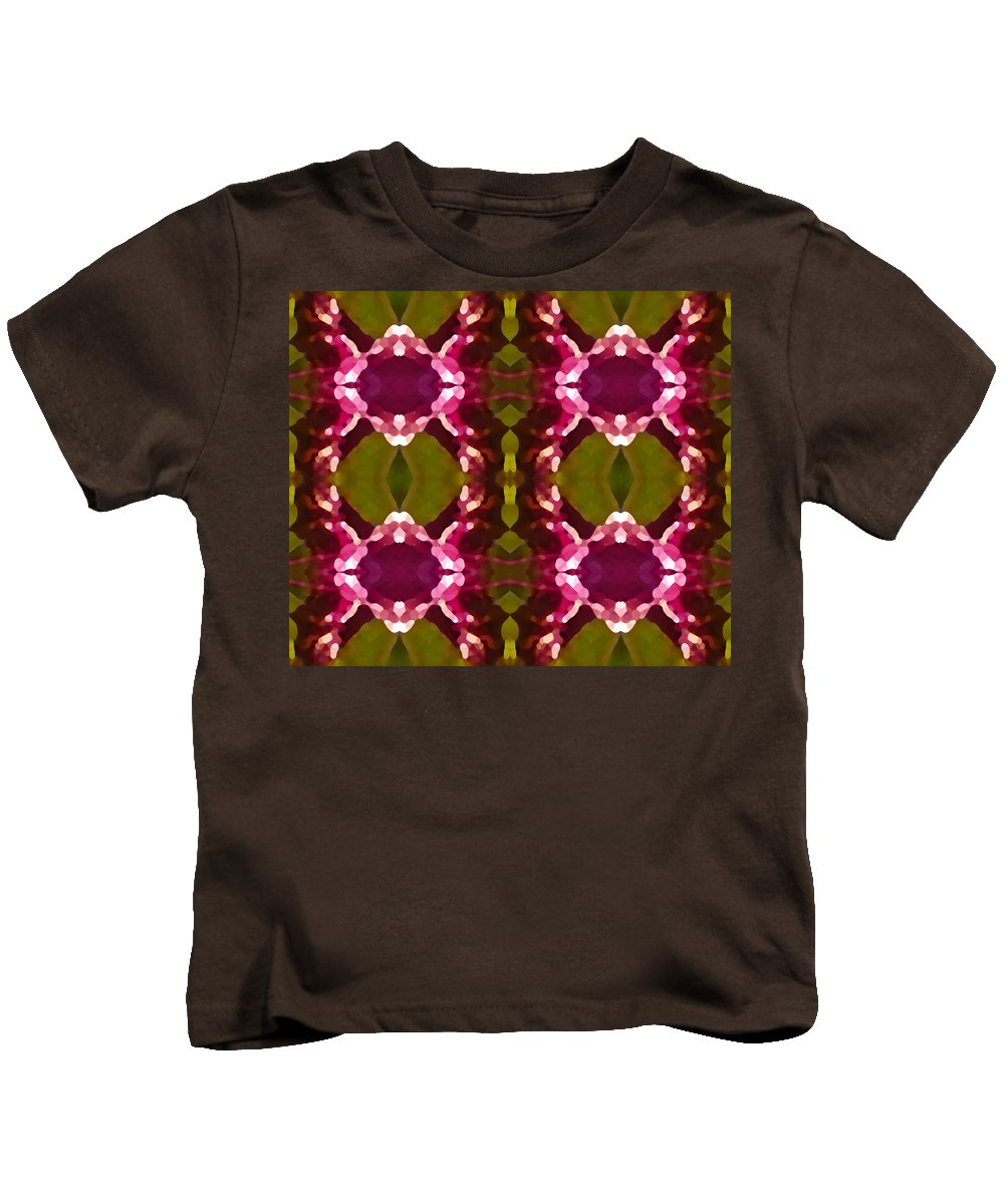 Abstract Painting Kids T-Shirt featuring the digital art Magenta Crystals Pattern 2 by Amy Vangsgard