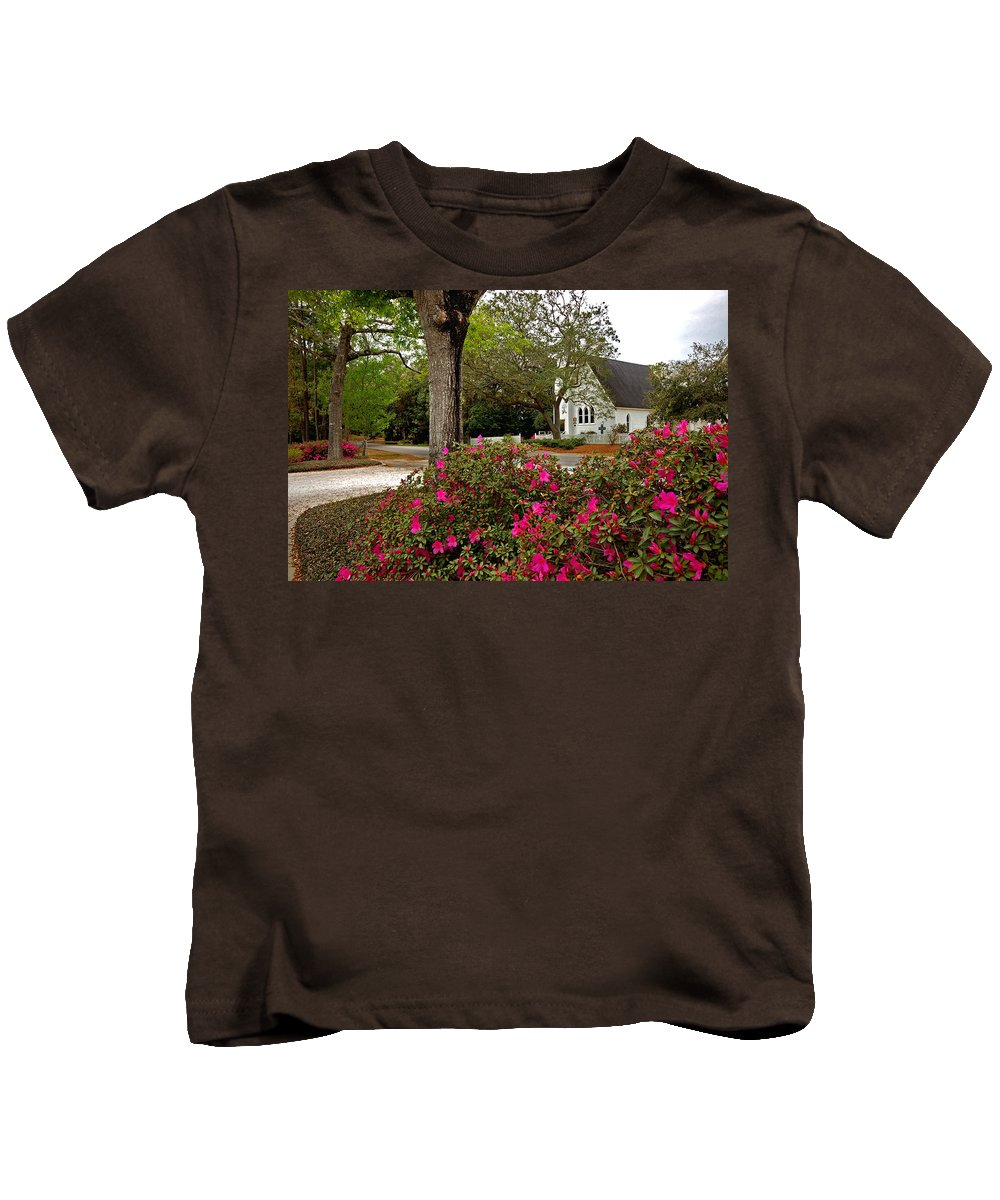 Magnolia Springs Kids T-Shirt featuring the painting Magnolia Springs Alabama Church by Michael Thomas