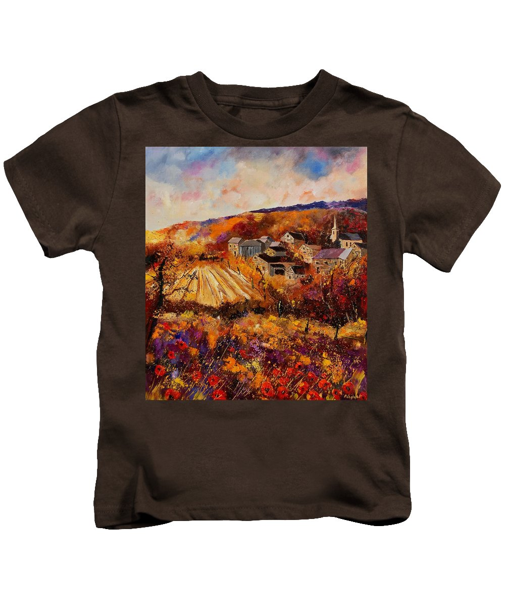 Poppies Kids T-Shirt featuring the painting Maissin by Pol Ledent