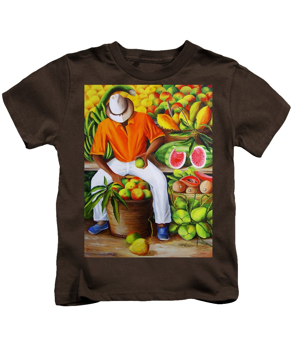 Caribbean Kids T-Shirt featuring the painting Manuel The Caribbean Fruit Vendor by Dominica Alcantara