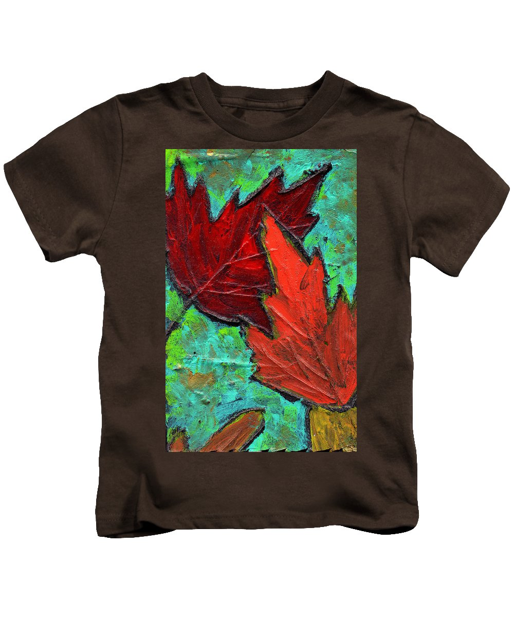 Maple Kids T-Shirt featuring the painting Maple Leaves by Wayne Potrafka