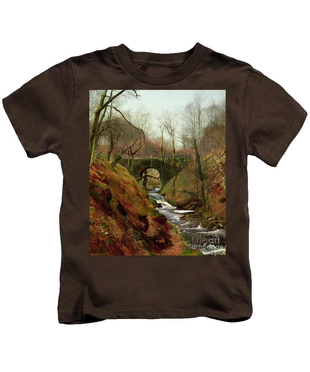 March Kids T-Shirt featuring the painting March Morning by John Atkinson Grimshaw