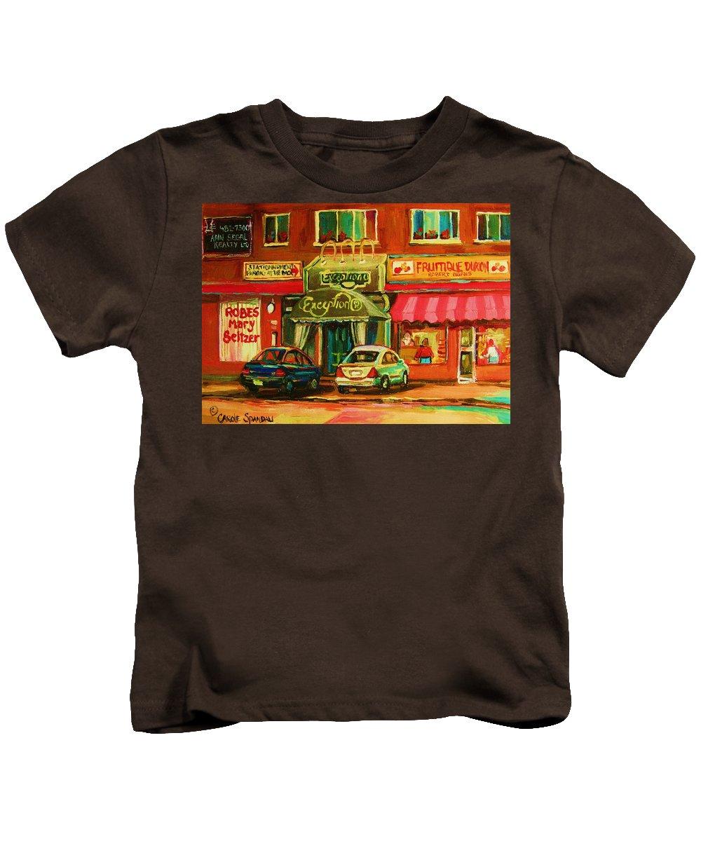 Mary Seltzer Dress Shop Kids T-Shirt featuring the painting Mary Seltzer Dress Shop by Carole Spandau