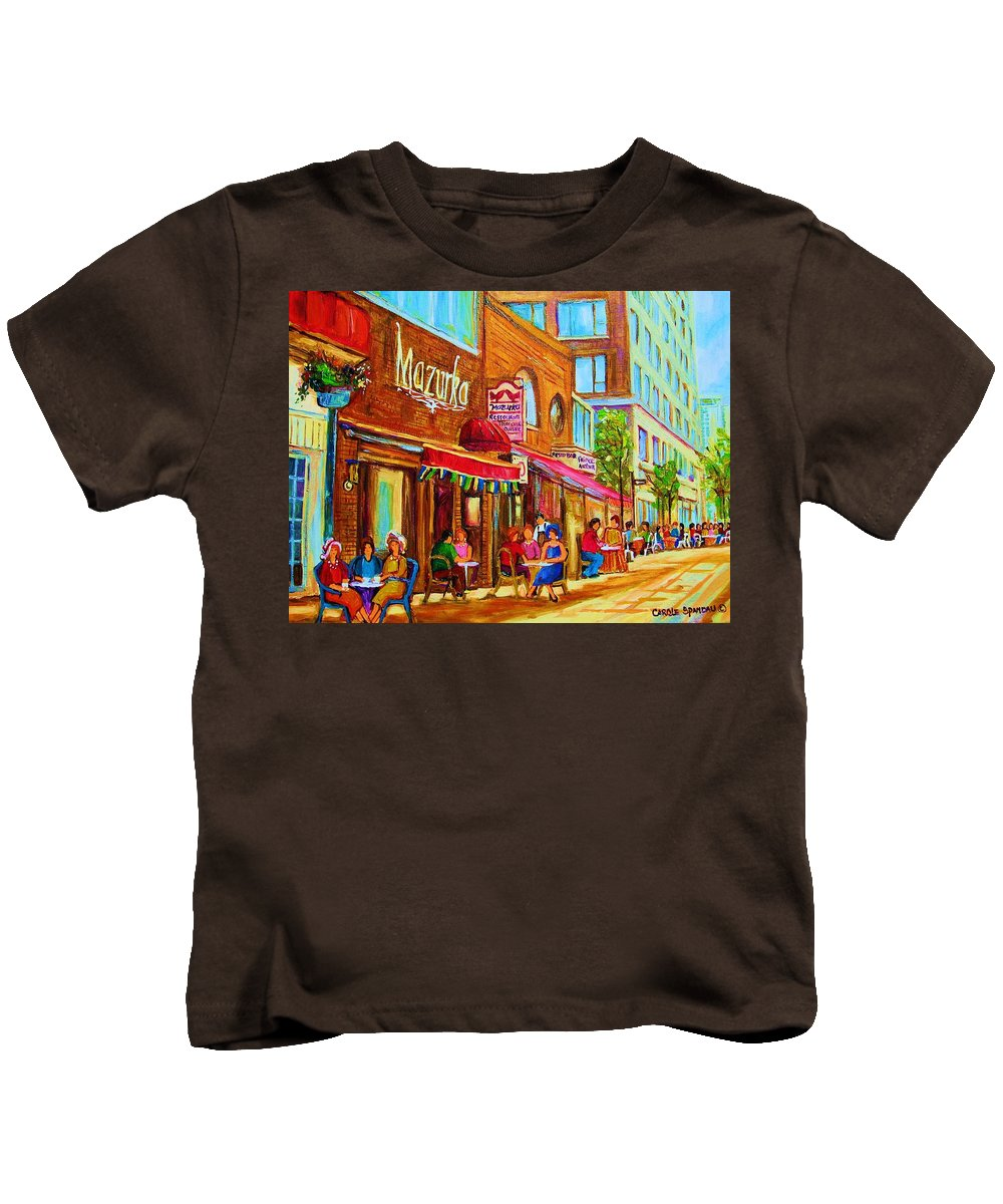 Montreal Streetscene Kids T-Shirt featuring the painting Mazurka Cafe by Carole Spandau