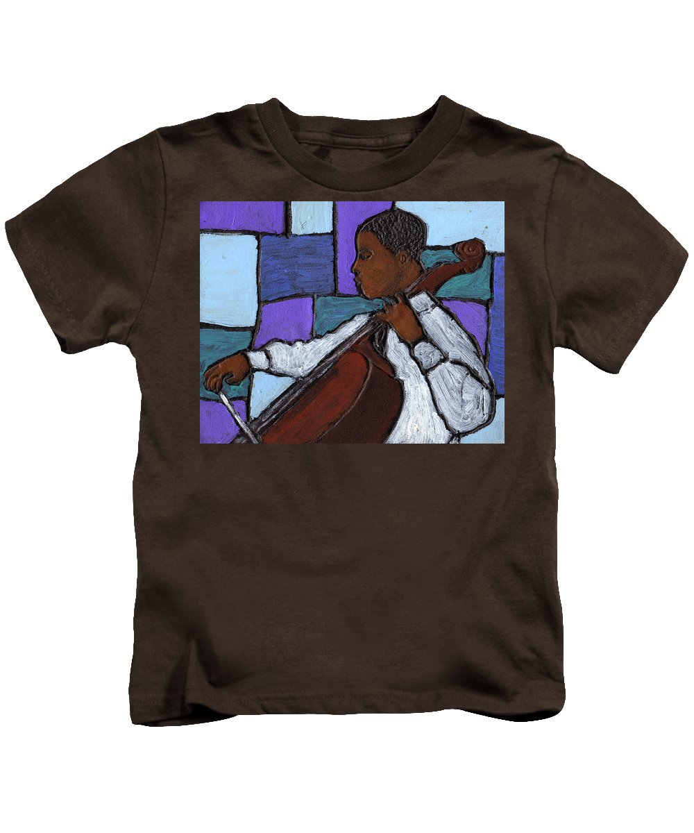 Blues Kids T-Shirt featuring the painting Mellow Blues by Wayne Potrafka