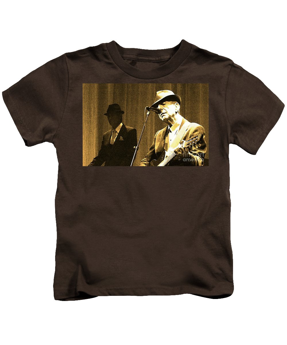Leonard Kids T-Shirt featuring the painting Memories Of Cohen by John Malone