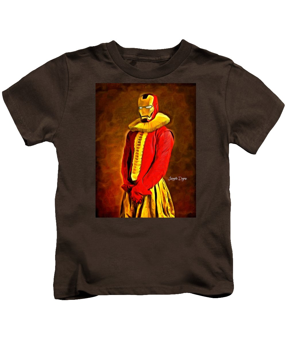 American Kids T-Shirt featuring the painting Middle Ages Iron Man by Leonardo Digenio