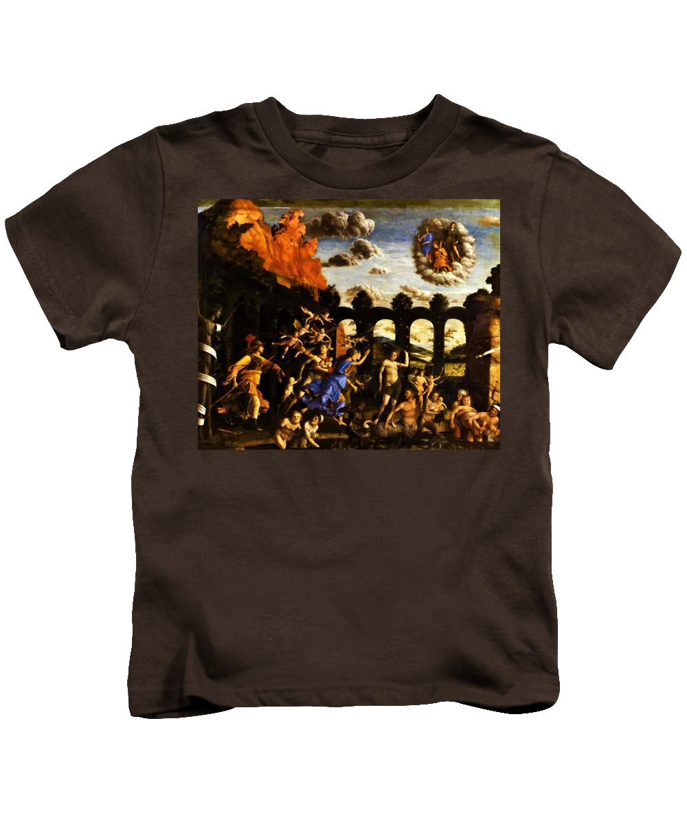 Minerva Kids T-Shirt featuring the painting Minerva Chasing The Vices From The Garden Of Virtue 1502 by Mantegna Andrea
