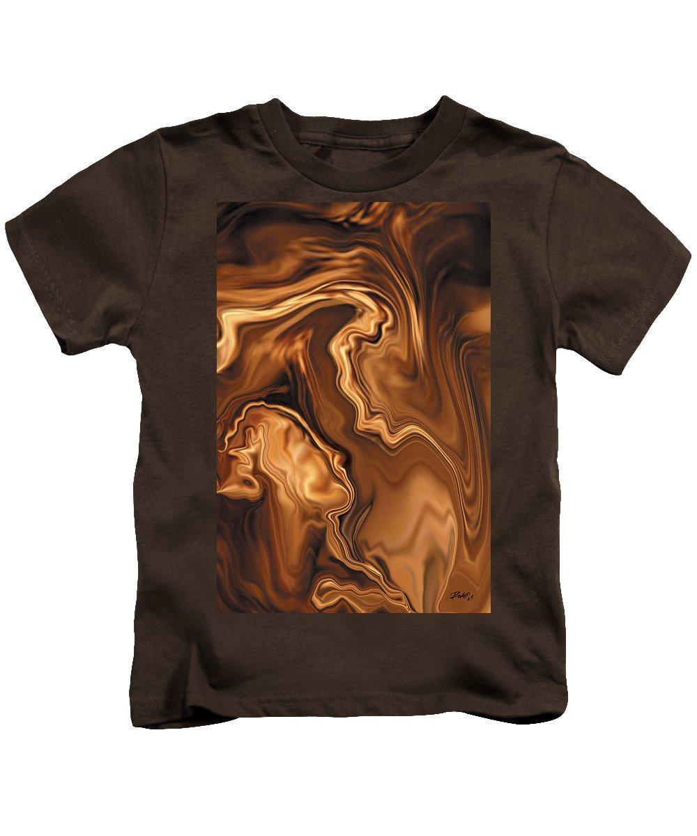 Abstract Adam Art Blue Brown Copper Digital Eve Figurative Khan Kiss Love Night Passion Rabi_khan Se Kids T-Shirt featuring the digital art Moment Before The Kiss by Rabi Khan