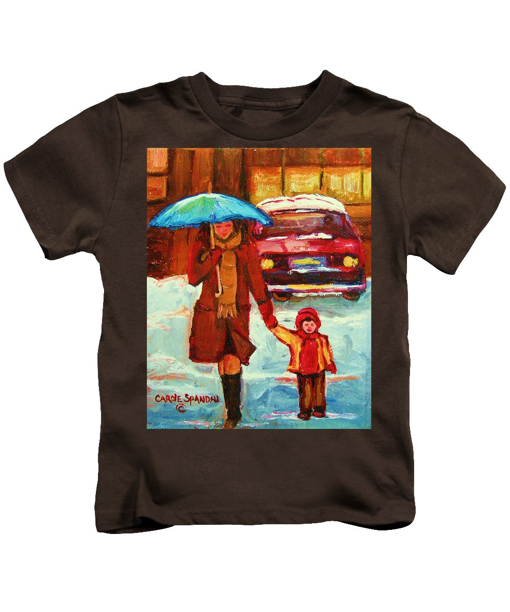 Montreal Kids T-Shirt featuring the painting Moms Blue Umbrella by Carole Spandau
