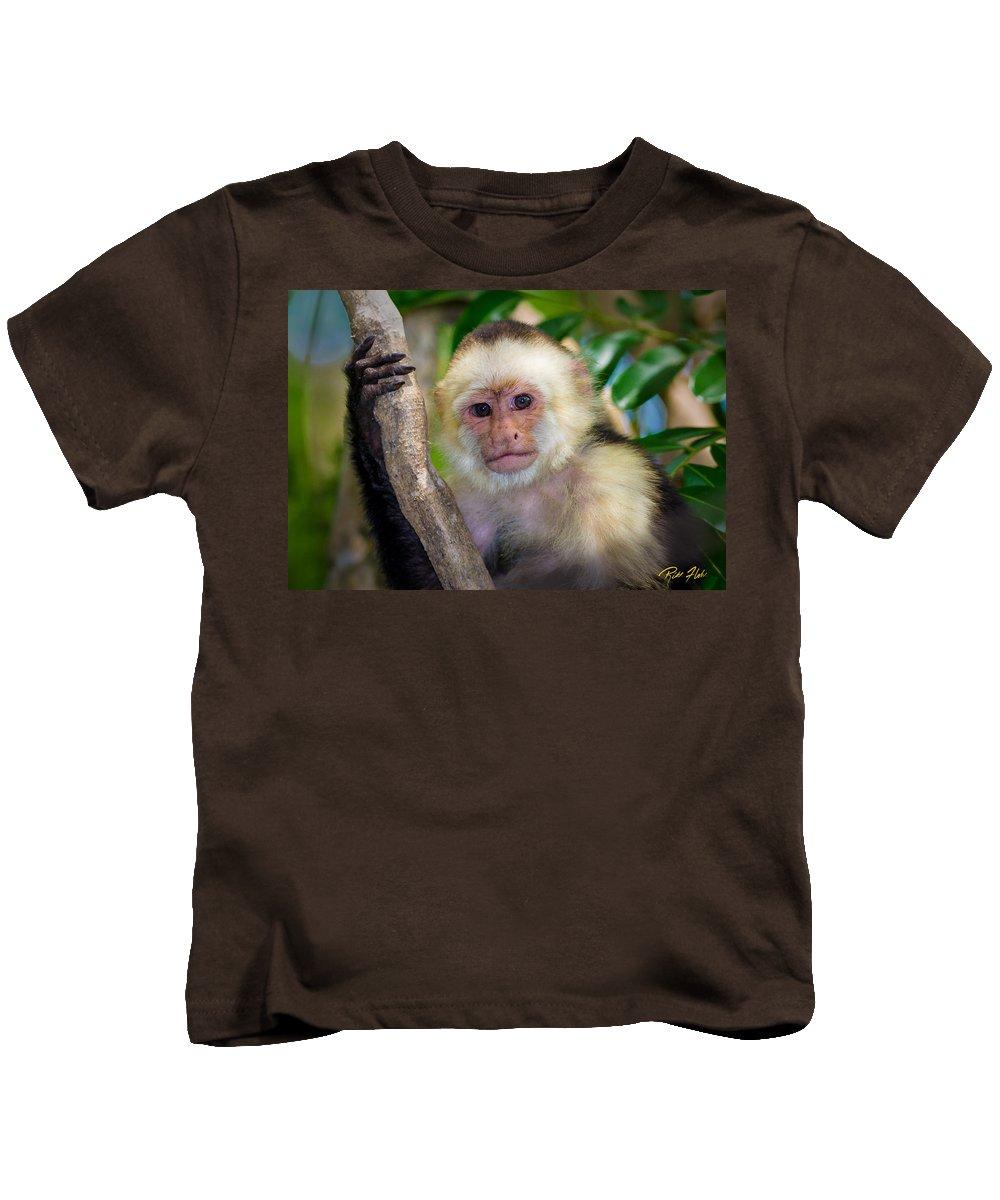 Animals Kids T-Shirt featuring the photograph Monkey Portrait by Rikk Flohr