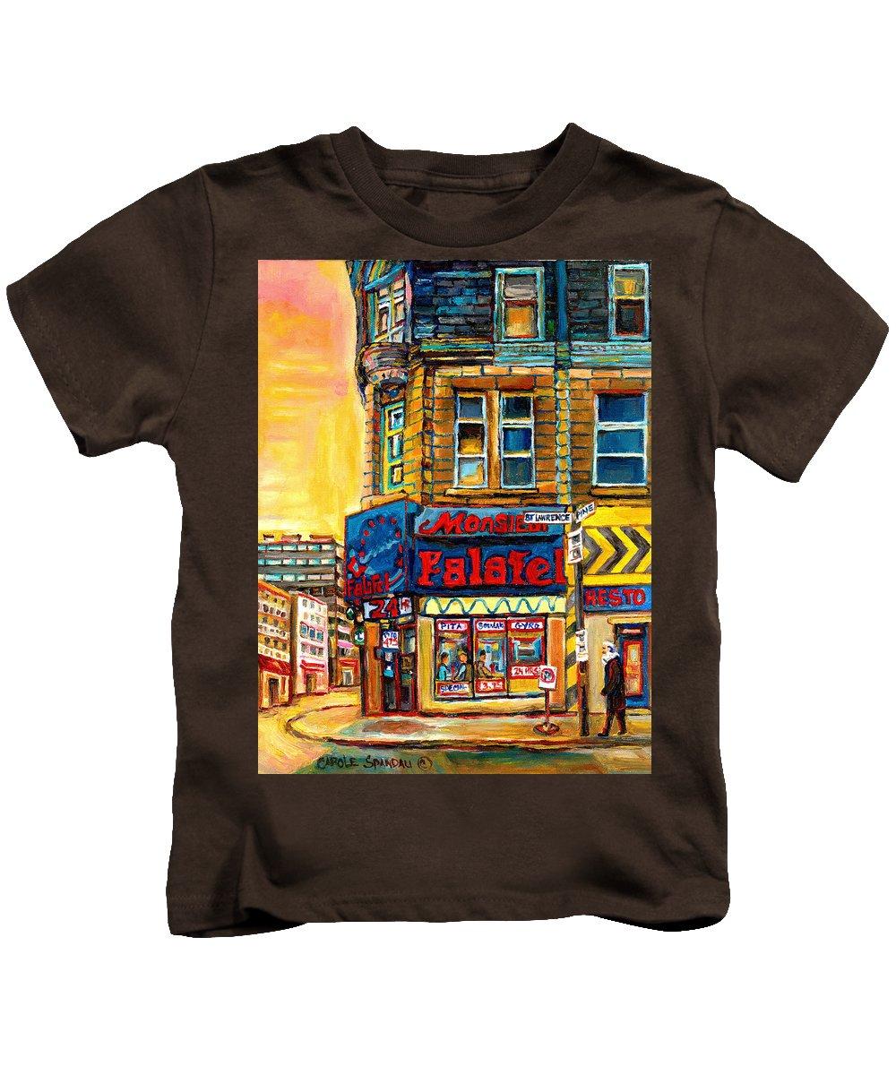 Montreal Kids T-Shirt featuring the painting Monsieur Falafel by Carole Spandau