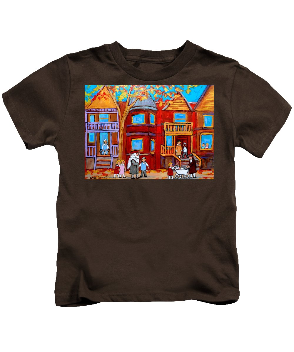 Outremont Kids T-Shirt featuring the painting Montreal Memories Of Zaida And The Family by Carole Spandau