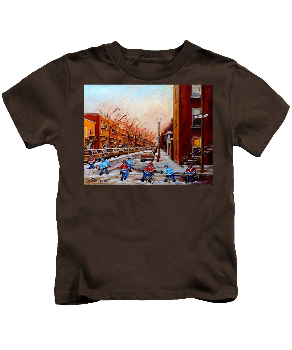Montreal Streetscene Kids T-Shirt featuring the painting Montreal Street Hockey Game by Carole Spandau