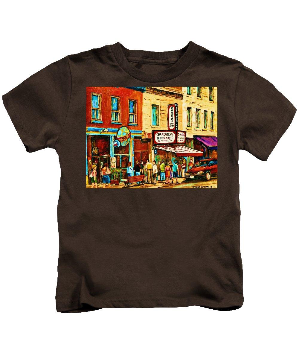 Montreal Kids T-Shirt featuring the painting Montreal Streetscene Artist Carole Spandau Paints Schwartzs Main Street Hustle Bustle by Carole Spandau