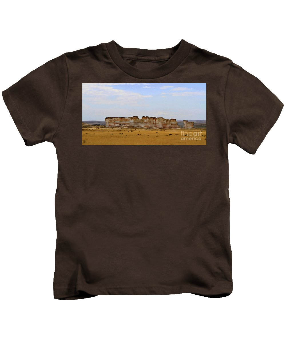 Monument Rocks Kids T-Shirt featuring the photograph Monument Rocks In Western Kansas by Catherine Sherman