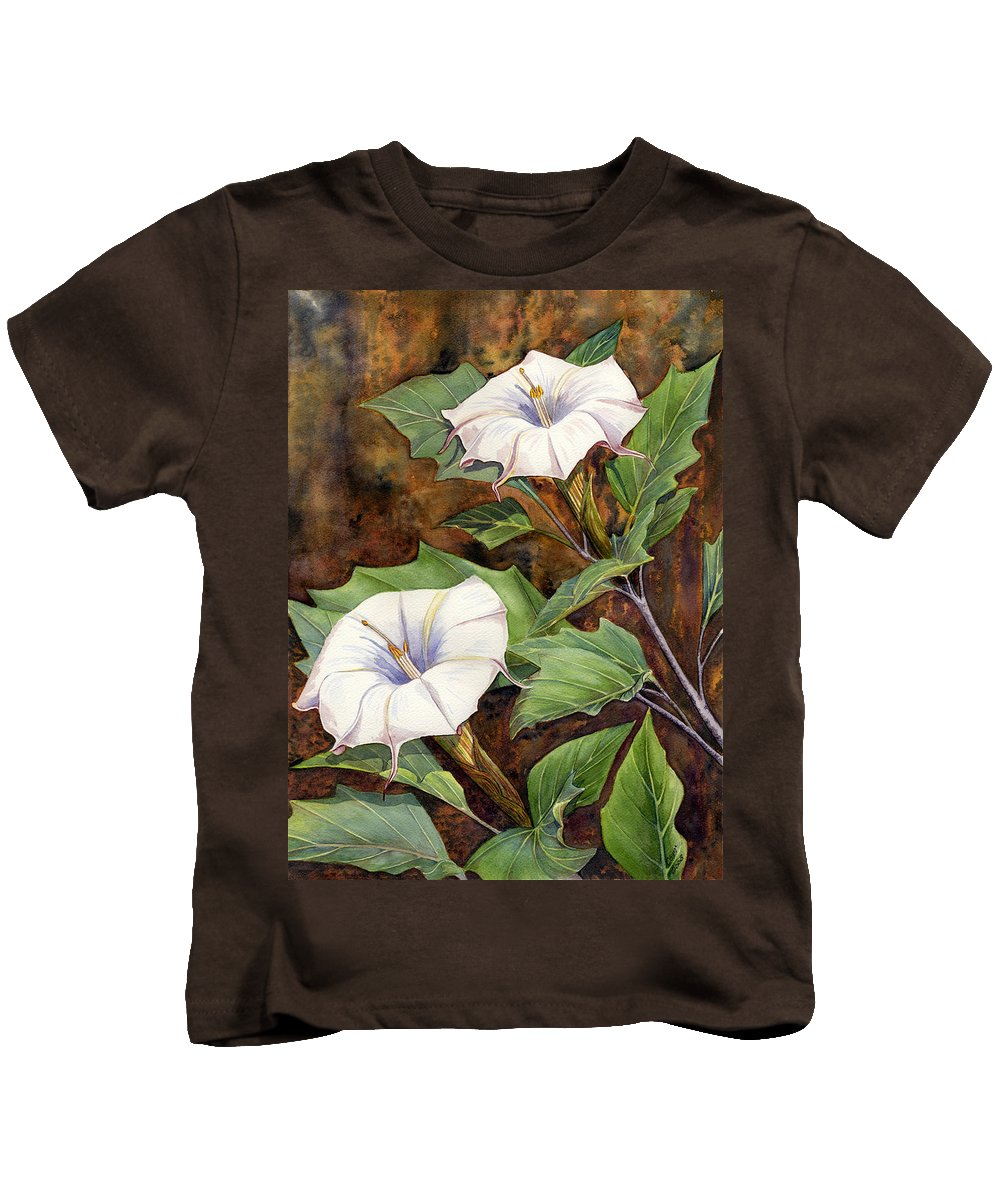 Sacred Datura Kids T-Shirt featuring the painting Moon Lilies by Catherine G McElroy