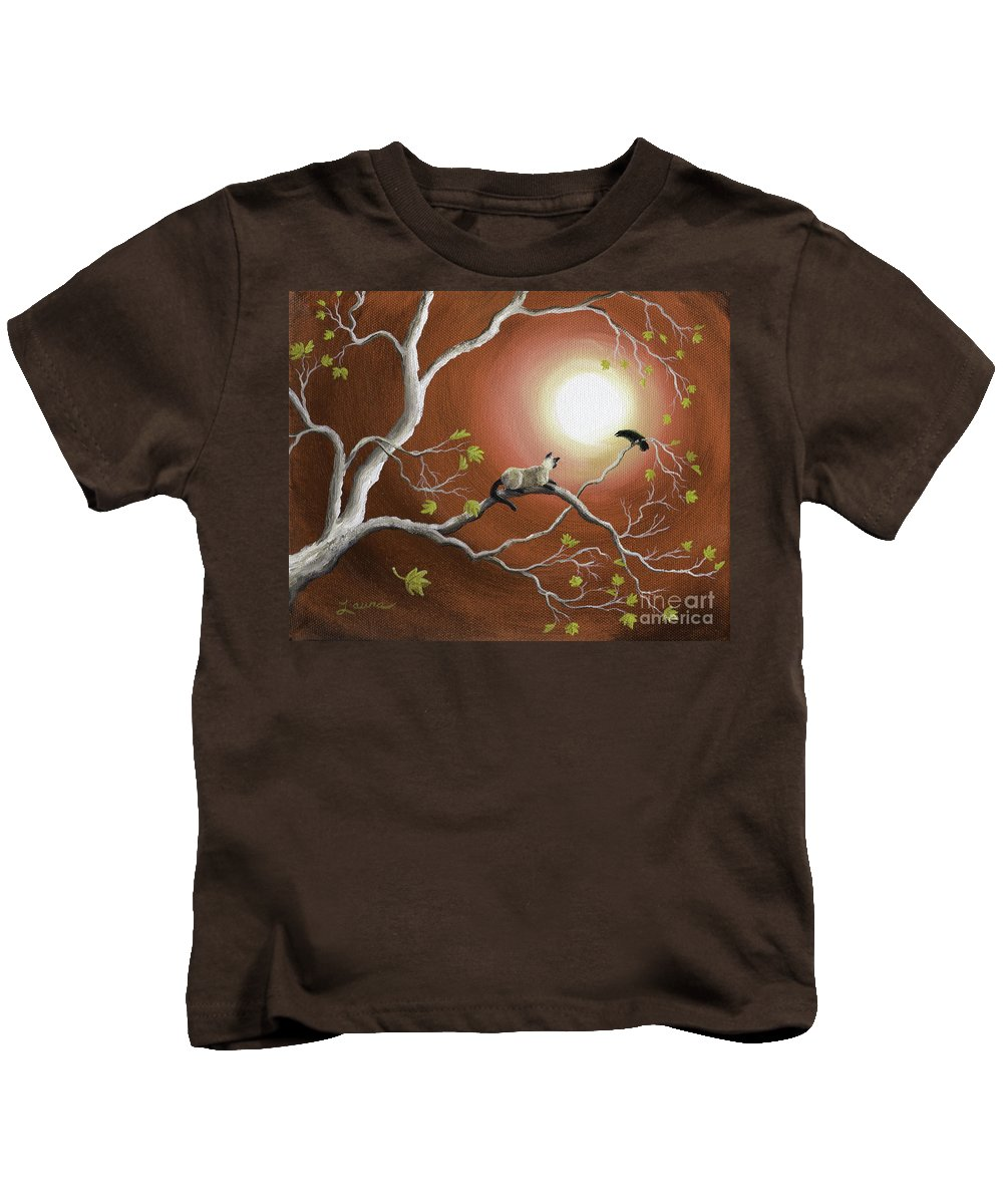 Landscape Kids T-Shirt featuring the painting Moonlight Conversation In Sepia by Laura Iverson