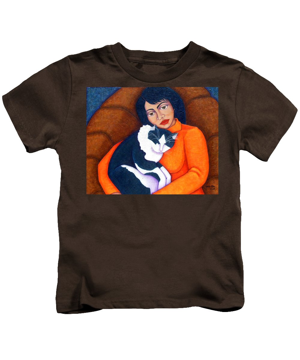 Woman Kids T-Shirt featuring the painting Morgana With Woman by Madalena Lobao-Tello