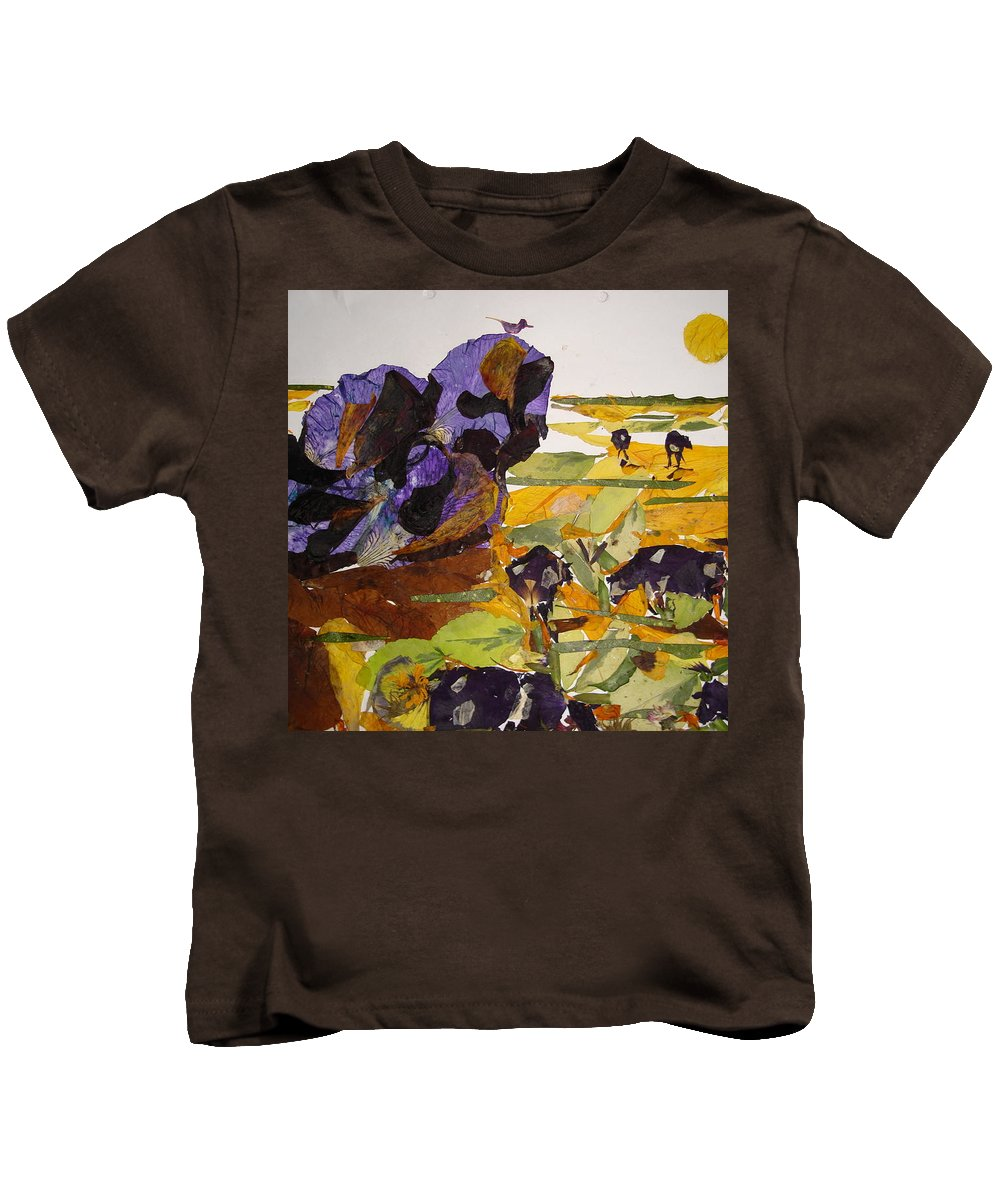 Glory Of Morning Kids T-Shirt featuring the mixed media Morning Activities by Basant Soni