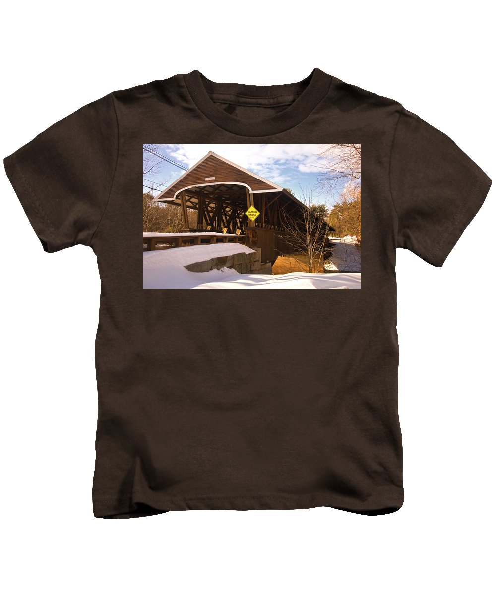 new England Covered Bridges Kids T-Shirt featuring the photograph Morning Finds The Rowell Bridge by Paul Mangold