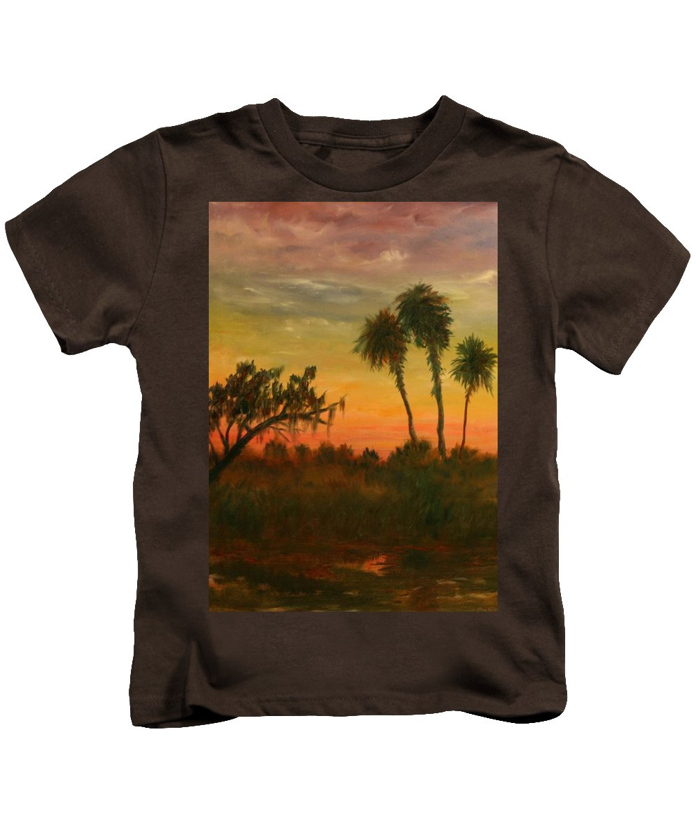 Palm Trees; Tropical; Marsh; Sunrise Kids T-Shirt featuring the painting Morning Fog by Ben Kiger