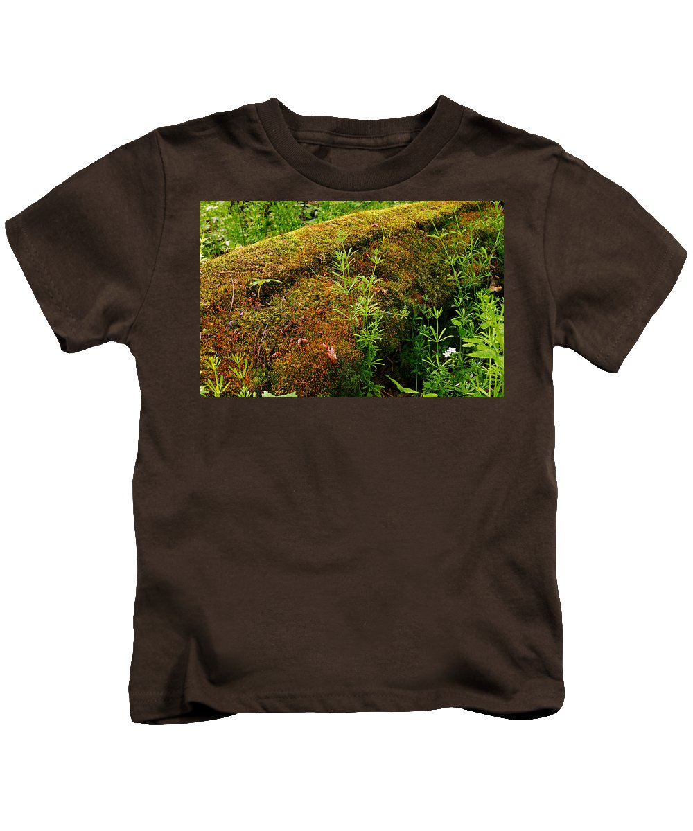 Moss Covered Log Kids T-Shirt featuring the photograph Moss Covered Log by Larry Ricker
