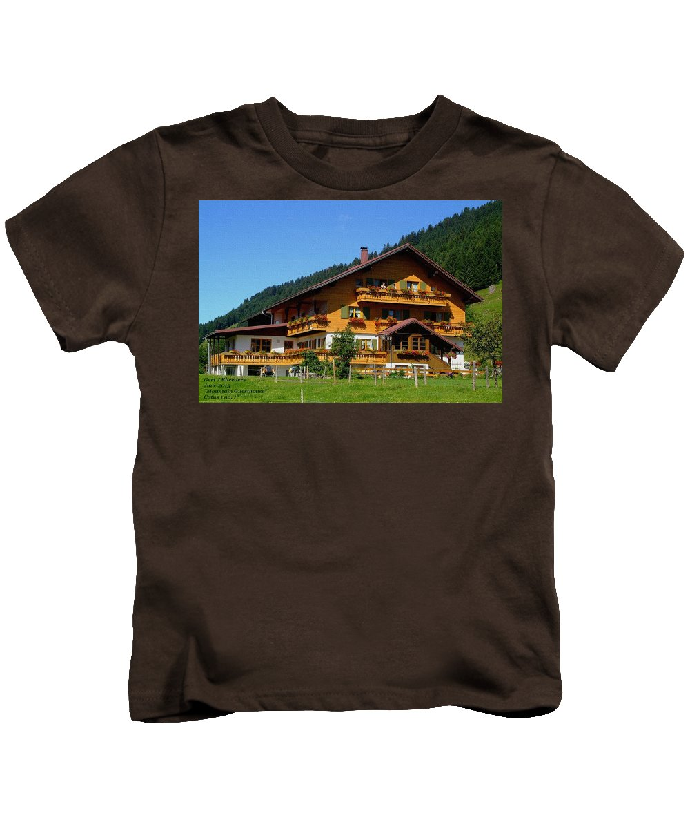 Announcement Kids T-Shirt featuring the painting Mountain Guesthouse H A by Gert J Rheeders