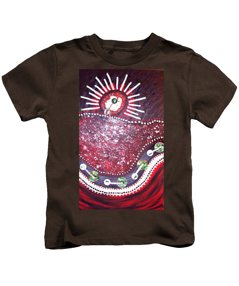Moveonart! Digital Gallery Kids T-Shirt featuring the painting Moveonart Red Flow by Jacob Kanduch