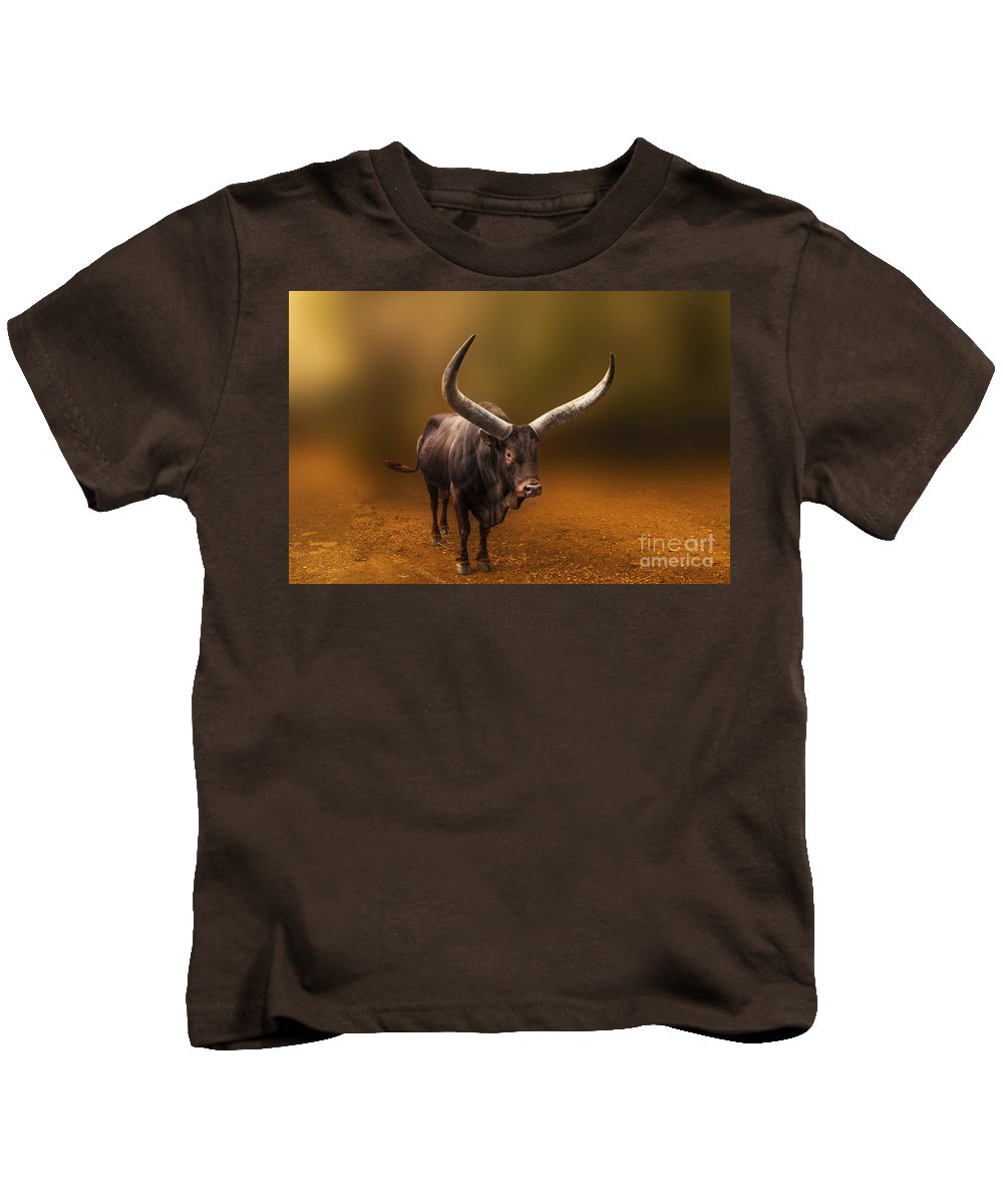Bull Kids T-Shirt featuring the photograph Mr. Bull From Africa by Charuhas Images