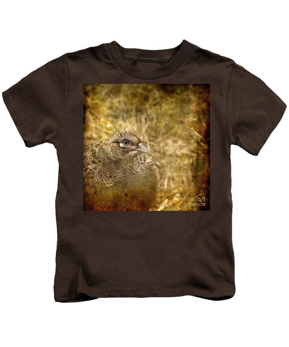 Pheasant Kids T-Shirt featuring the photograph Mrs Pheasant by Angel Ciesniarska