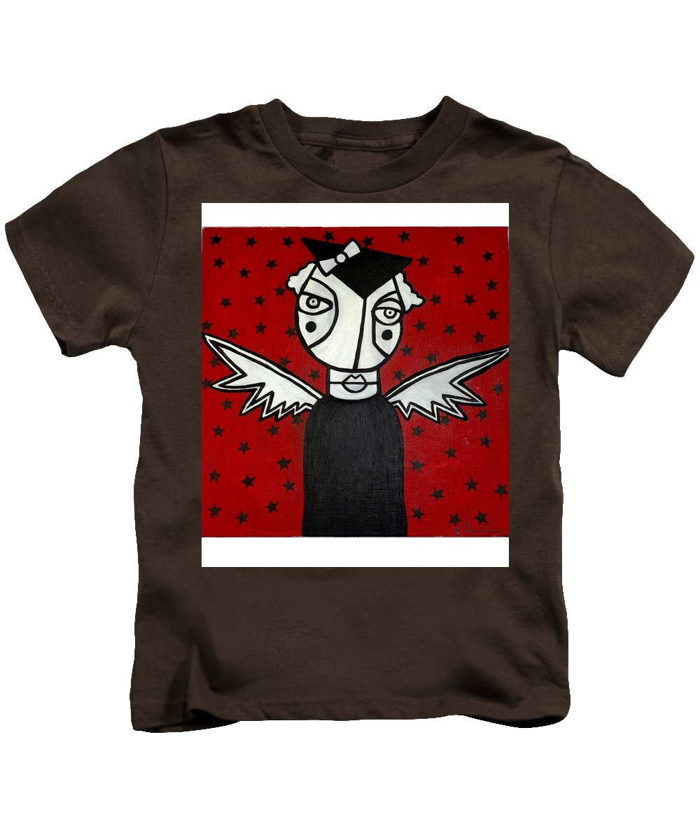 Potrait Kids T-Shirt featuring the painting Mrs.creepy by Thomas Valentine