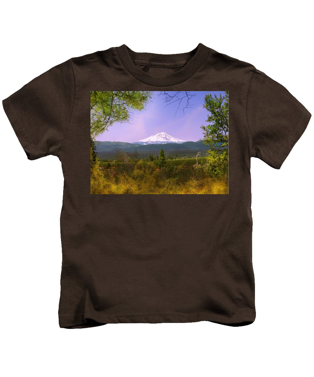 Landscapes Kids T-Shirt featuring the photograph Mt. Shasta by Karen W Meyer