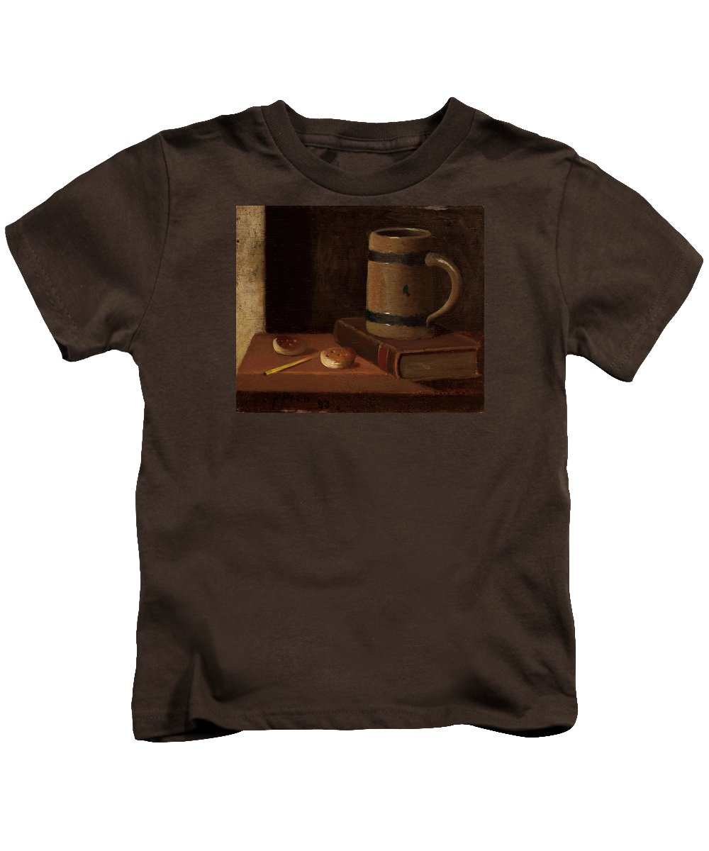 Painting Kids T-Shirt featuring the painting Mug Book Biscuits And Match by Mountain Dreams