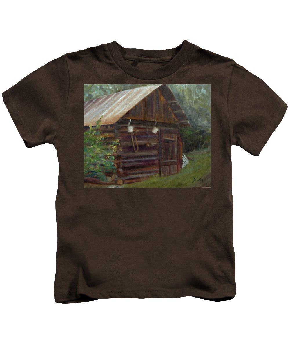 Grainery Kids T-Shirt featuring the painting Mulberry Farms Grainery by Donna Tuten