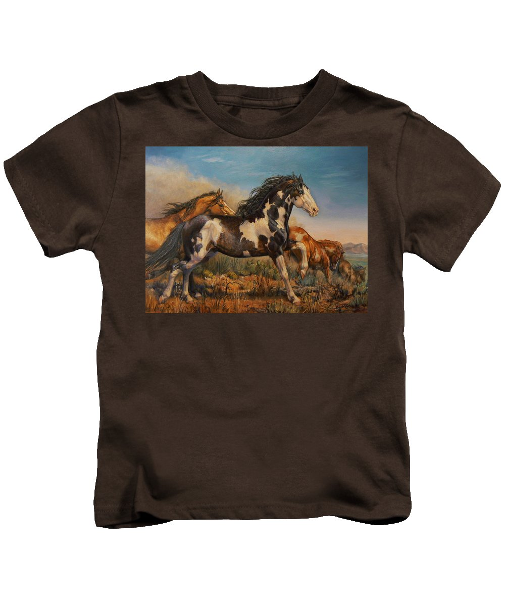 Horses Kids T-Shirt featuring the painting Mustangs On The Run by Kerry Nelson