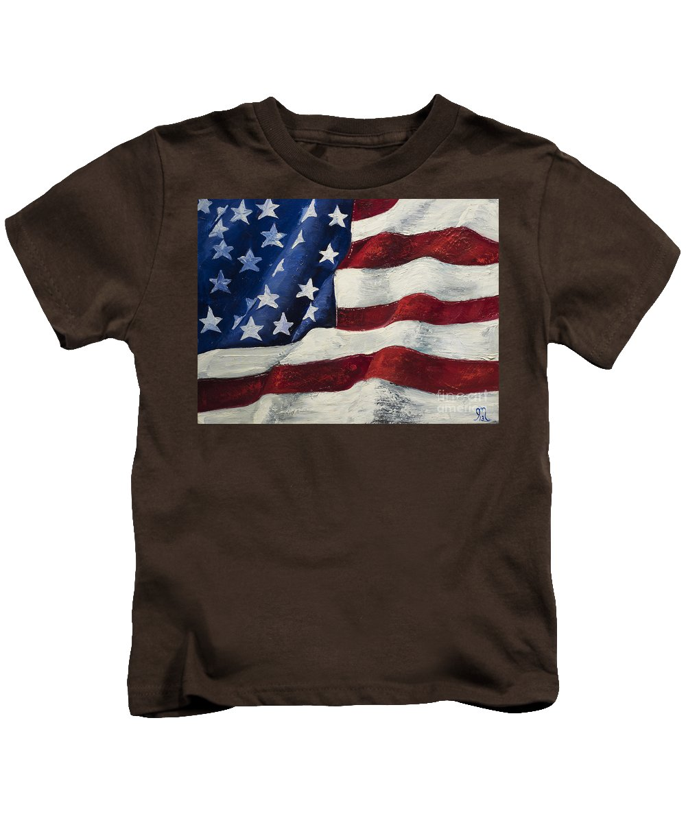 American Flag Kids T-Shirt featuring the painting My Flag by Jodi Monahan