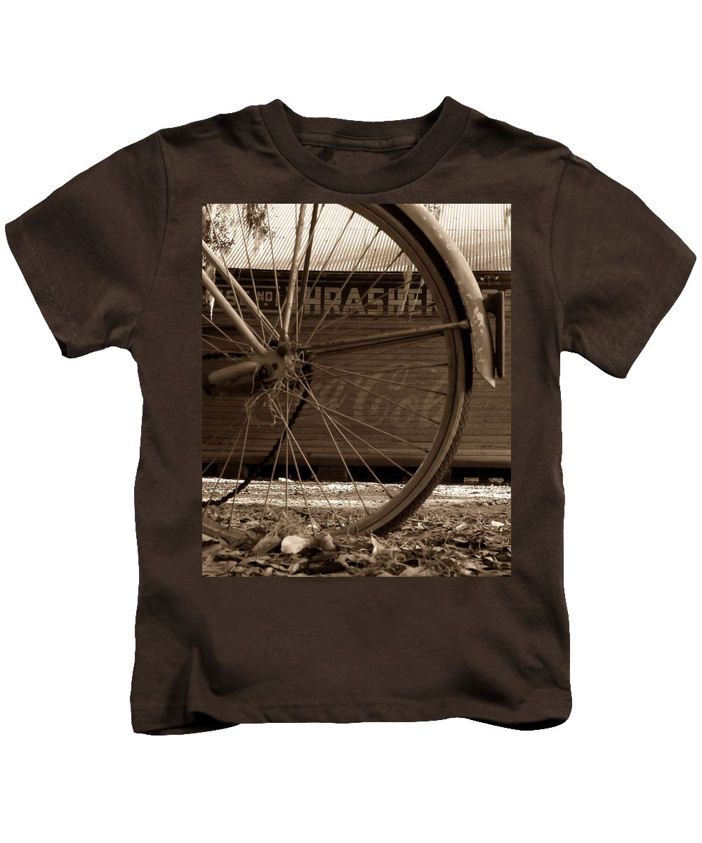 Fine Art Photography Kids T-Shirt featuring the photograph My Old Bike by David Lee Thompson