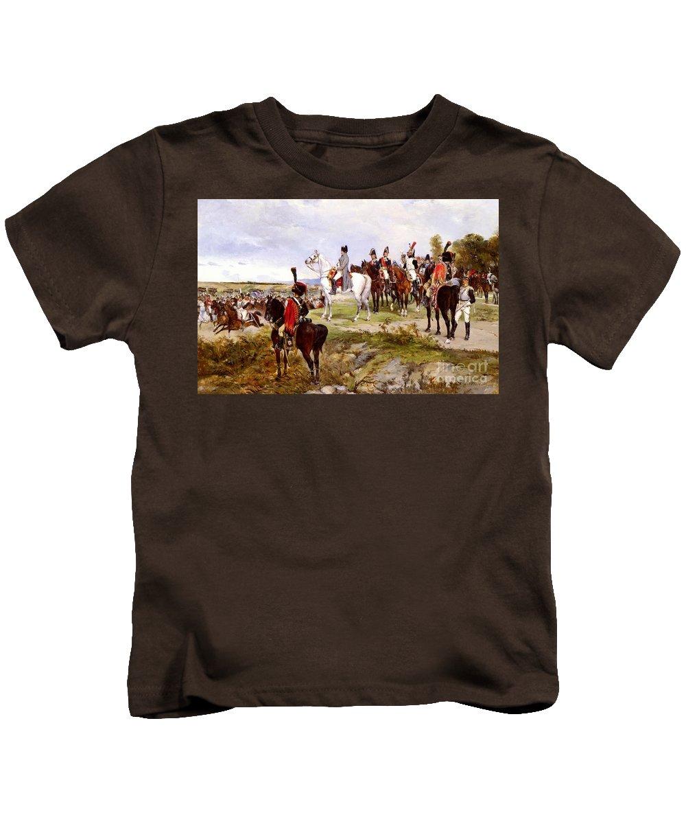 James Alexander Walker - Napoleon Watching The Battle Of Friedland Kids T-Shirt featuring the painting Napoleon Watching The Battle Of Friedland by MotionAge Designs