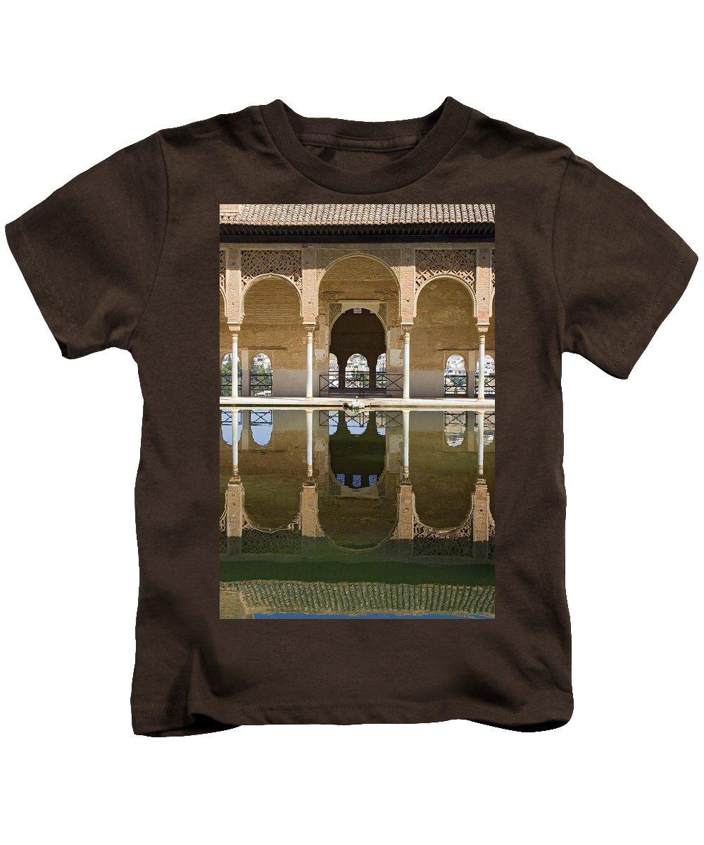 Moorish Kids T-Shirt featuring the photograph Nasrid Palace Arches Reflection At The Alhambra Granada by Mal Bray