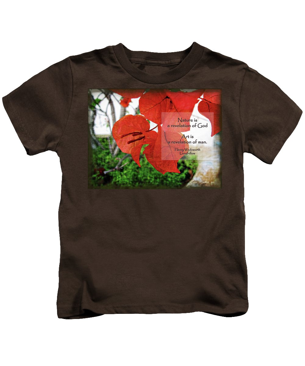 Nature Kids T-Shirt featuring the digital art Nature Longfellow Quote by Joan Minchak