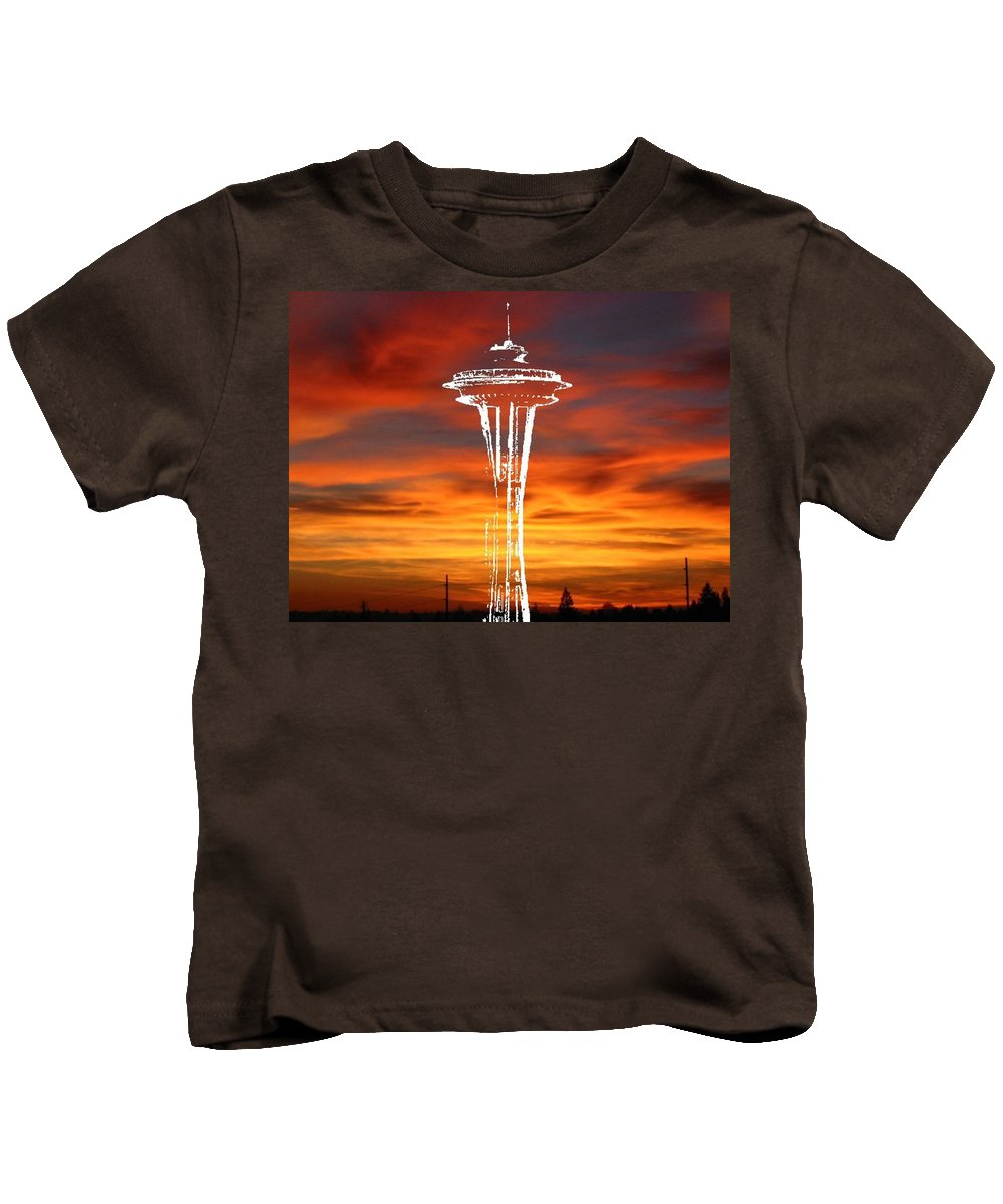 Seattle Kids T-Shirt featuring the digital art Needle Silhouette by Tim Allen
