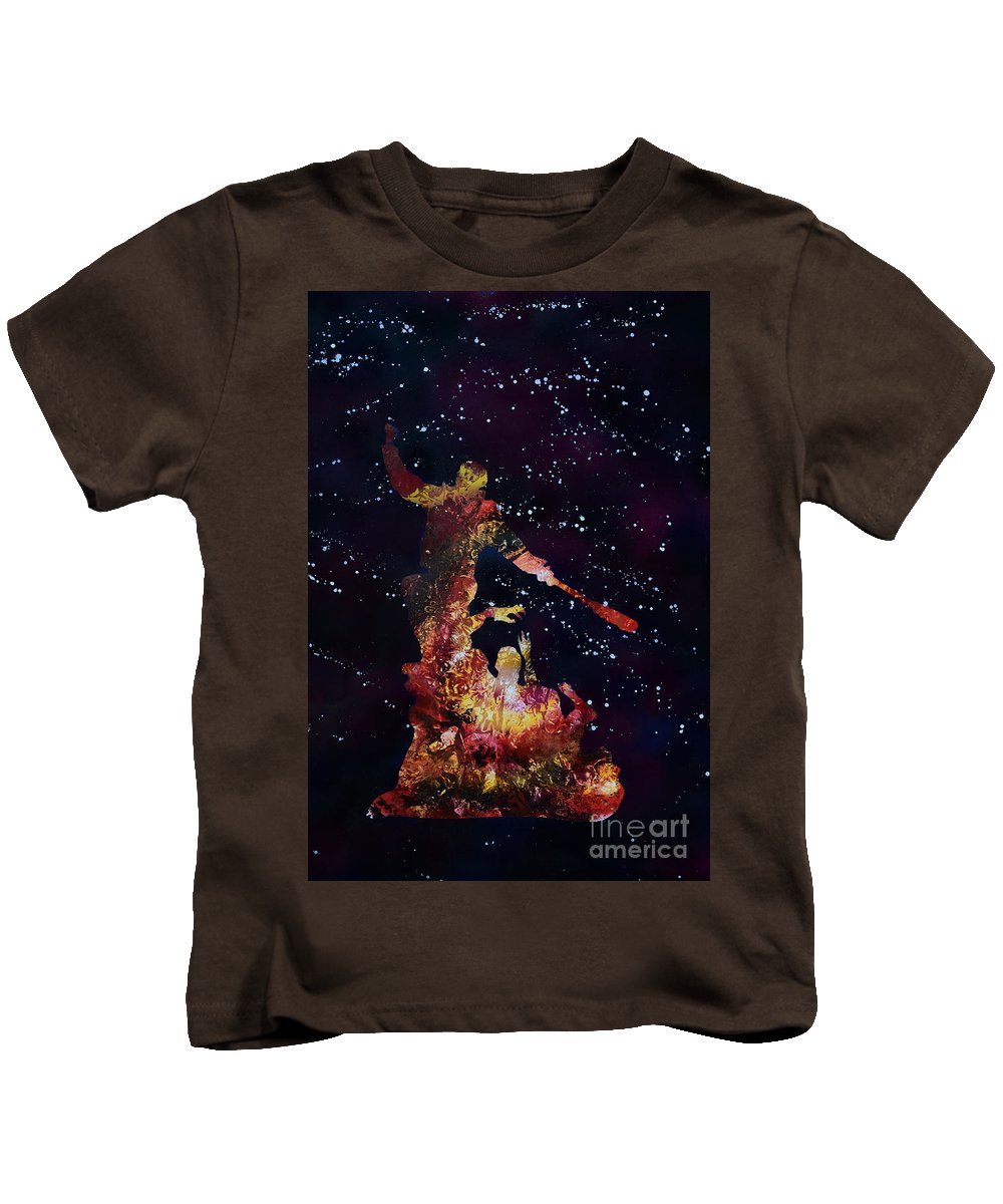 Justin Moore Kids T-Shirt featuring the painting Negan Triumph And Stars by Justin Moore