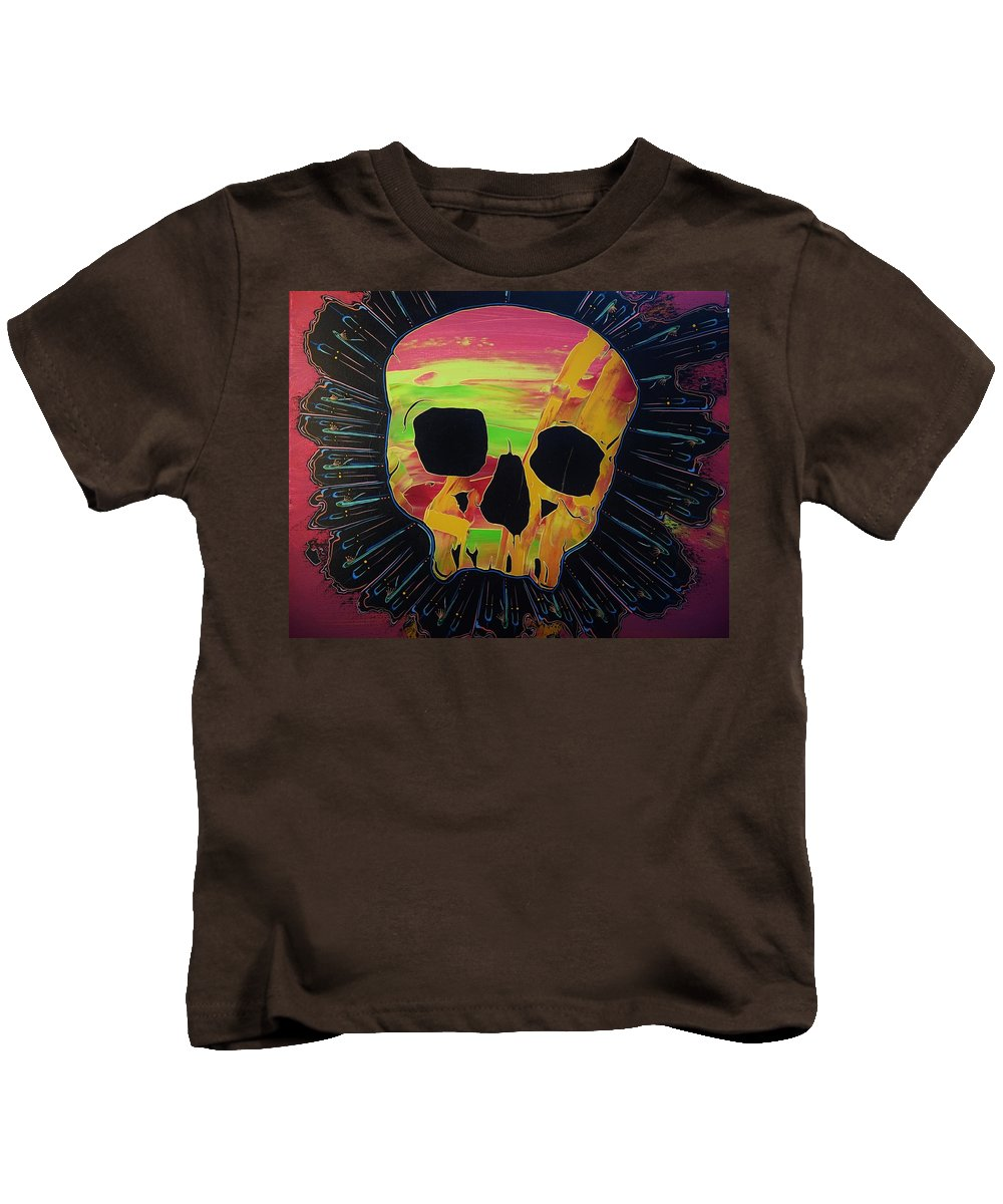 Skulls Kids T-Shirt featuring the painting Negative Relations 1 by David Buschemeyer