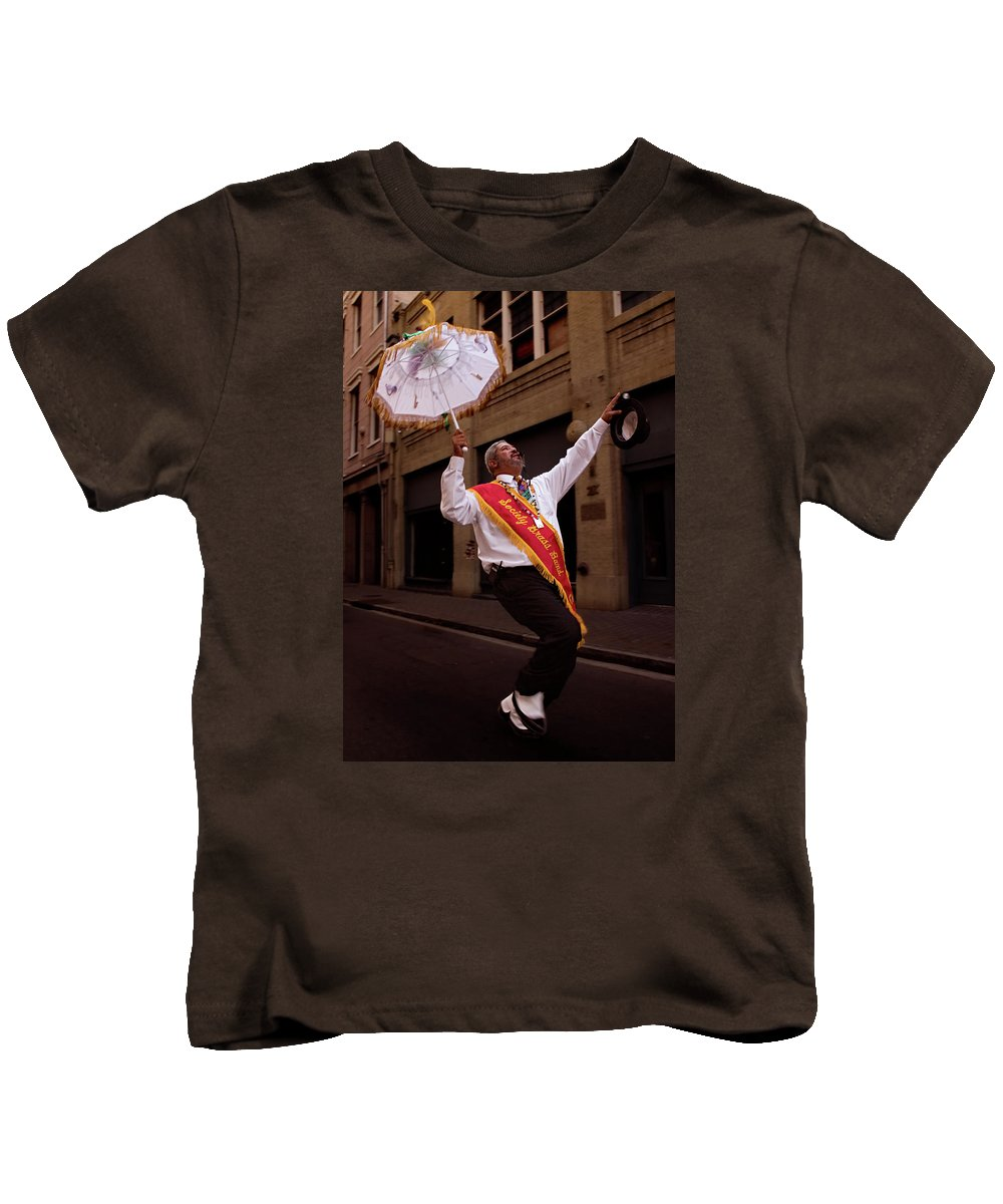New Orleans Kids T-Shirt featuring the photograph New Orleans Brass Band Leader by Grant Groberg