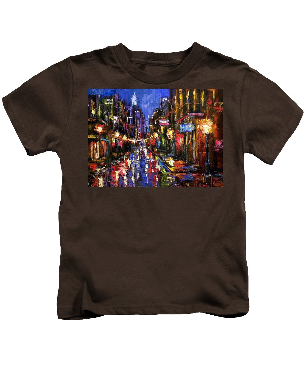Cityscape Kids T-Shirt featuring the painting New Orleans Storm by Debra Hurd