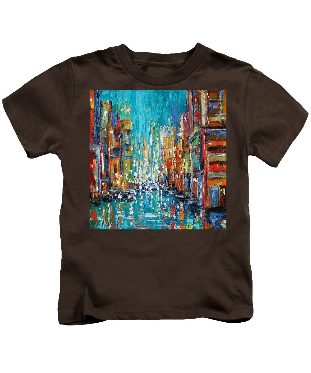 City Art Kids T-Shirt featuring the painting New York City by Debra Hurd
