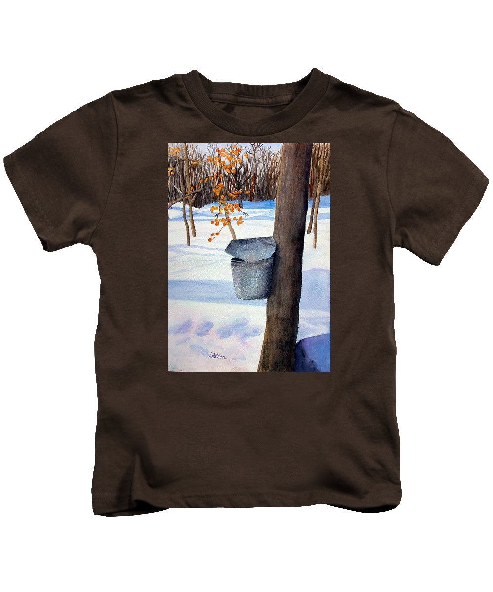 Sap Bucket. Maple Sugaring Kids T-Shirt featuring the painting Nh Goldmine by Sharon E Allen