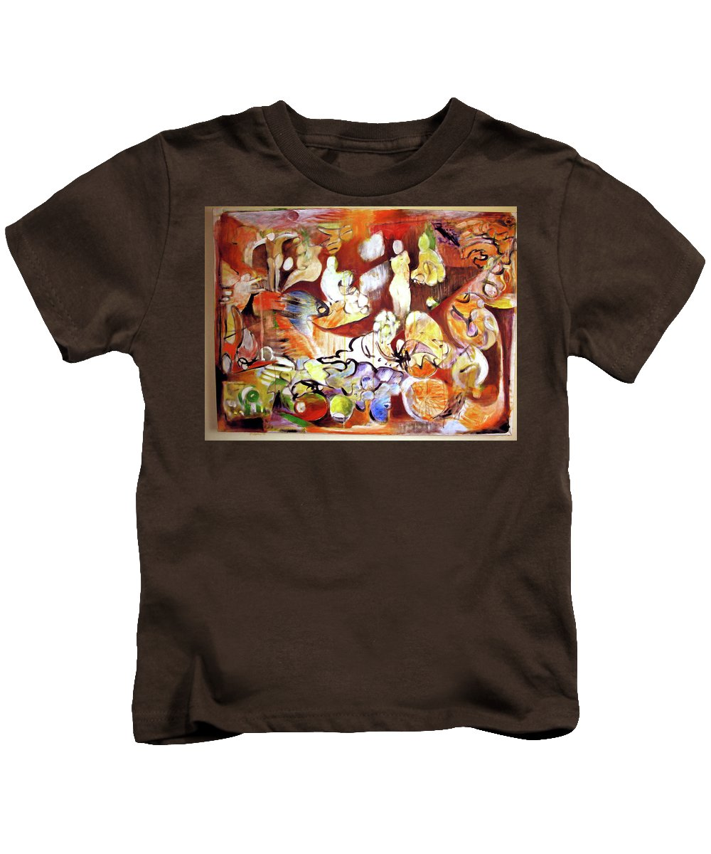 Abstract Kids T-Shirt featuring the painting Night In Nablus by Robert Gravelin